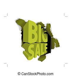 Big sale discount advertisement - Hole with sale text vector...
