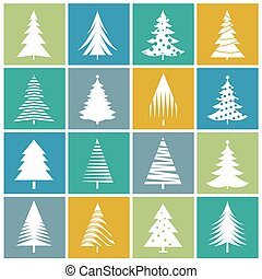 Set of Color Christmas Trees. Vector Illustrations.