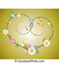 Spring floral heart made from flowers and butterflies vector...