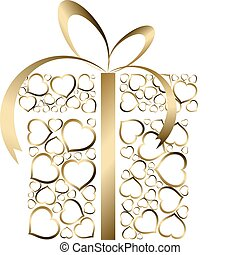 Stylized love present box made from golden hearts (vector)