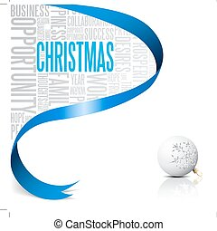 Christmas card with blue ribbon and white bulb vector