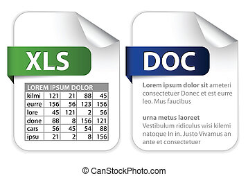icons for office file extensions - Vector set of icons for...