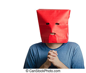 Jittery boy in red paper bag - Shy guy in navy t-shirt wears...