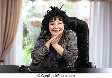 Really happy woman portrait - Portrait of truly happy mature...
