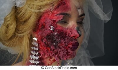 Portrait of a dead bride, made-up blonde image for Halloween...