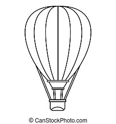 Air ballon icon, outline style - Air ballon icon. Outline...