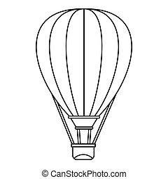 Air ballon icon, outline style - Air ballon icon. Outline...