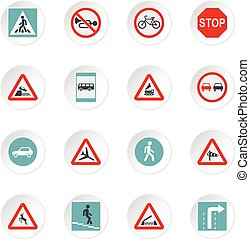 Road signs icons set, flat style - icons set. Flat...