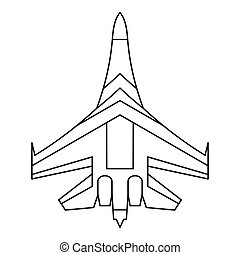 Jet fighter plane icon, outline style - Jet fighter plane...