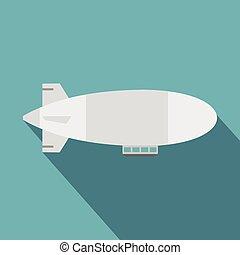 Airship icon, flat style - Airship icon. Flat illustration...