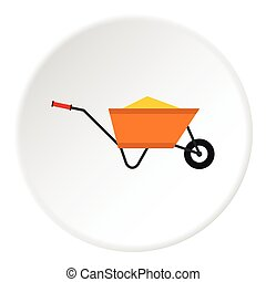 Wheelbarrow with construction debris icon. Flat illustration...