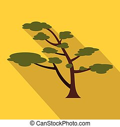 Cedar tree icon, flat style - Cedar tree icon. Flat...