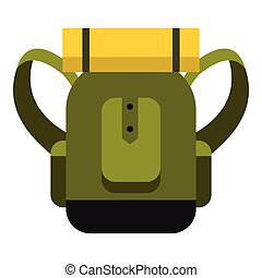 Travel backpack icon, flat style - Travel backpack icon....
