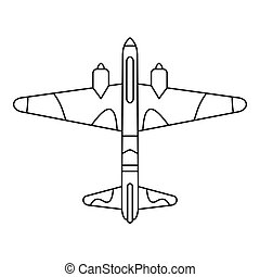 Military fighter aircraft icon, outline style - Military...