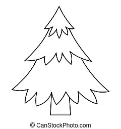 Fir tree icon, outline style - Fir tree icon. Outline...