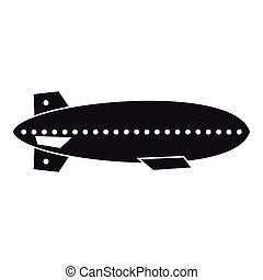 Dirigible balloon icon, simple style - Dirigible balloon...