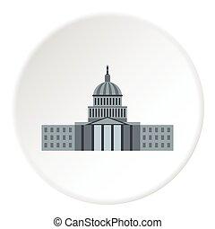 Capitol icon, flat style - Capitol icon. Flat illustration...