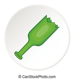 Broken bottle icon, cartoon style - Broken bottle icon....
