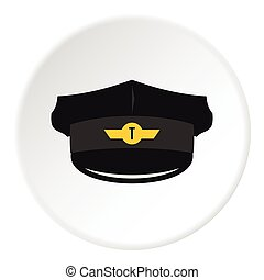 Cap taxi driver icon, flat style - Cap taxi driver icon....