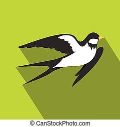 Swallow icon, flat style - Swallow icon. Flat illustration...