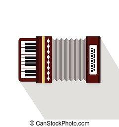 Russian folk accordion icon, flat style - Russian folk...