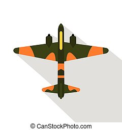Military fighter aircraft icon, flat style - Military...