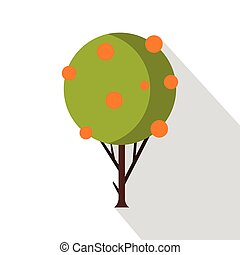Tangerine tree icon, flat style - Tangerine tree icon. Flat...