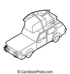Car with luggage on the roof icon, outline style