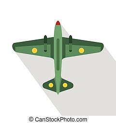 Military aircraft icon, flat style - Military aircraft icon....