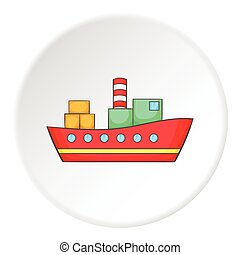 Ship icon, flat style - Steamship icon. Isometric...