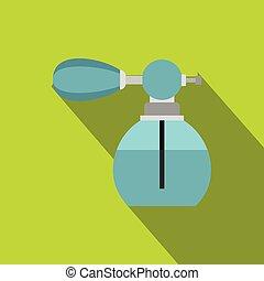 Blue perfume bottle with vaporizer icon flat style - icon....