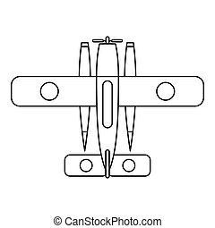 Ski equipped airplane icon, outline style - Ski equipped...