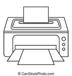 Photo printer icon, outline style - icon. Outline...