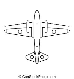 Military aircraft icon, outline style - Military aircraft...