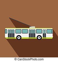 Trolleybus icon, flat style - Trolleybus icon. Flat...