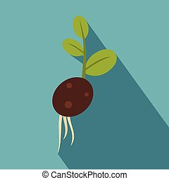 Green potato sprout from the root icon, flat style