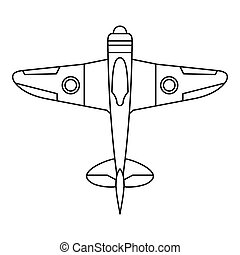 Military fighter plane icon, outline style - Military...