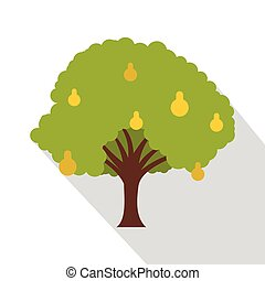 Pear tree with yellow pears icon, flat style - Pear tree...