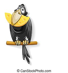 black crow with piece of cheese in beak illustration,...