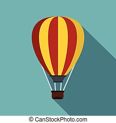 Hot air ballon icon, flat style - Hot air ballon icon. Flat...
