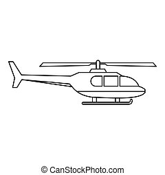 Military helicopter icon, outline style - Military...