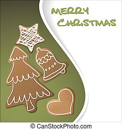 Christmas card - gingerbreads with white icing on green...
