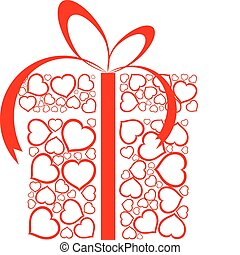 Stylized love present box made from red hearts vector