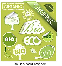 Set of bio, eco, organic elements - labels, stickers,...