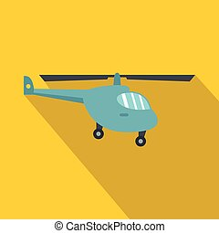 Helicopter icon, flat style - Helicopter icon. Flat...