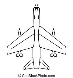 Armed fighter jet icon, outline style - Armed fighter jet...