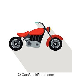Motorcycle icon, flat style - Motorcycle icon. Flat...