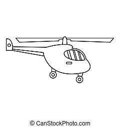 Helicopter icon, outline style - Helicopter icon. Outline...