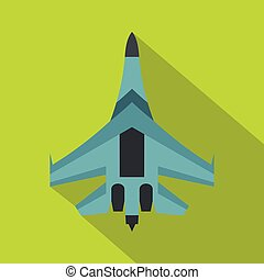 Jet fighter plane icon, flat style - icon. Flat illustration...