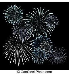 Set of blue fireworks illustrations on black background...